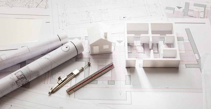 Residential building project architectural design, blueprint plans and house model, banner